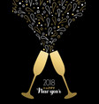 happy new year 2018 gold party drink toast card vector image vector image