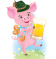 Happy smiling piglet with beer vector image