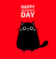 happy valentines day cute black cat icon kitty vector image vector image