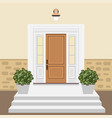 house door front with window and steps in flat vector image vector image