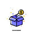 icon open box collecting money for crowdfunding vector image vector image