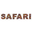 inscription of safari in ethnic style vector image vector image