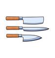knifes flat set - cleaver carving steak vector image vector image