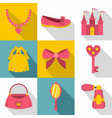 little princess icon set flat style vector image vector image