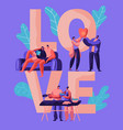 lovers couple relax at weekend typography banner vector image vector image