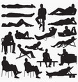 lying down silhouettes vector image