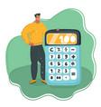 man showing a big green calculator vector image vector image