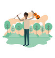 man with violin in landscape avatar character vector image vector image