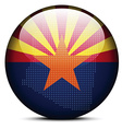 Map with Dot Pattern on flag button of USA Arizona vector image vector image