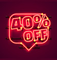 message neon 40 off text banner night sign vector image vector image