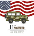 military car and united states flag vector image vector image