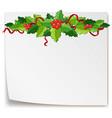 mistletoes on blank paper vector image