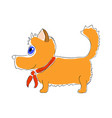 orange dog with red tie on vector image