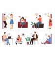 people surfing internet men and women spending vector image