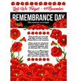 poppy remembrance day 11 november poster vector image vector image