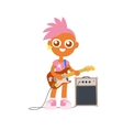 punk rock girl with guitar and pink color vector image vector image