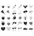 romantic relationship blackmonochrome icons in vector image