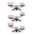 scales libra concept of choosing true or false vector image