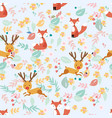 seamless pattern fox and deer in flower garden vector image vector image