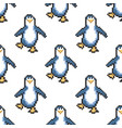 seamless pattern with penguins cute pixel vector image