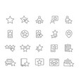 set star feedback line icons customer review vector image