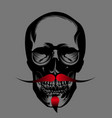 skull with red beard vector image vector image