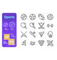 sports line icons set vector image vector image