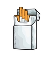 Unlabeled standing open pack of cigarettes vector image vector image