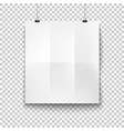 white blank hanging paper placard mockup vector image