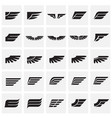 wings icons set on squares background for graphic vector image vector image
