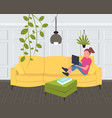 woman sitting on couch girl using laptop vector image vector image