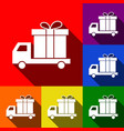 delivery gift sign set of icons with flat vector image