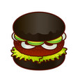 black burger food icon cartoon hand draw vector image