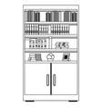 bookshelf icon cartoon black and white vector image vector image