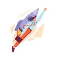 businessman flying on rocket startup mission vector image
