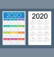 calendar 2020 colorful set russian language vector image