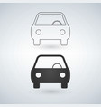Car icon front view linear version isolated on