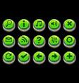 cartoon circle green stone buttons vector image
