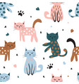 childish seamless pattern with cute cat creative vector image vector image