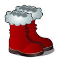 christmas cartoon red boots of santa claus vector image vector image