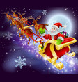christmas santa flying in his sled or sleigh vector image vector image