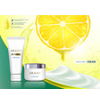 cosmetic cream with citrus fruit lemon vector image vector image
