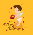 cute cupid angel with a chain hearts vector image vector image