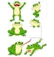 Cute frog cartoon collection set vector image vector image