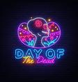 day dead neon sign dia de los vector image vector image