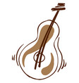 decorative guitar on white background vector image vector image