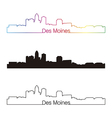 Des Moines skyline linear style with rainbow vector image vector image