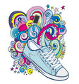 doodle sneakers and colored waves vector image vector image