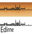 Edirne skyline in orange vector image vector image
