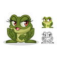 female frog cartoon character mascot design vector image vector image